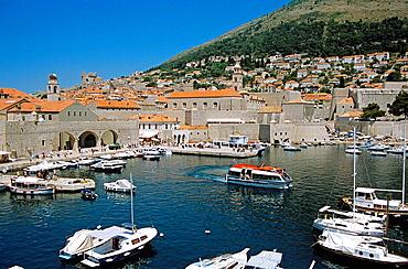 Old city port, general view, Dubrovnik, Dalmatian Coast, Croatia, Former Yugoslavia