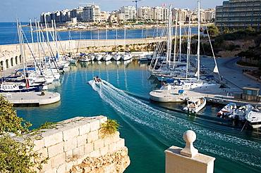 Overlooking yachts moored in Portomaso Marina, Portomaso, Saint Julian's, Malta
