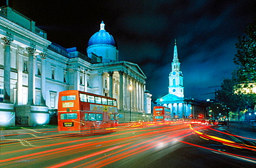 Trafalgar Square: National Gallery and Saint Martin in the Fields church, London, England