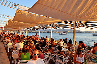 Panoramic view of sunset at Cafe del Mar of Ibiza, Spain.
