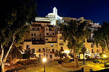 Panoramic view of the city of Ibiza, Spain.