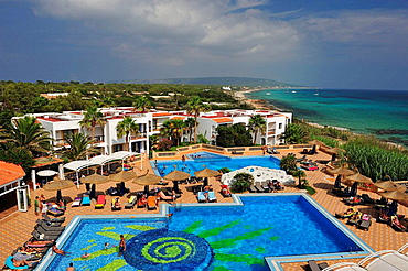 View Mitjorn beach in Formentera, Spain.
