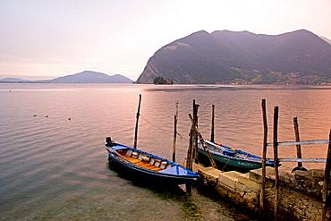 The lake near Sensole, Iseo lake, Lombardia, Italy.