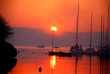 the sun rising over the harbour in kinsale,west cork ireland with the marina and a red skyline