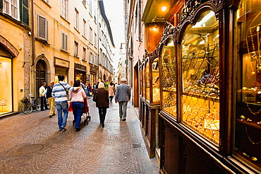 The ancient jeweller's shop Carli in via (stret) Fillungo, Lucca, Tuscany, Italy