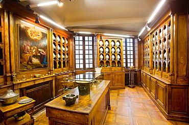 Ancien Hopital (Old Hospital), the Apothicairerie (pharmacy), Dombes, Ain, France.
