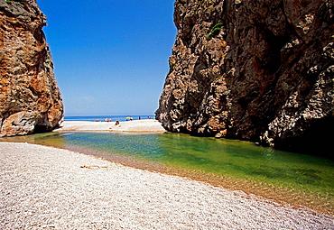 The Torrent (stream) de Pareis, Sa Calobra, Mallorca, Balearic Islands, Spain.