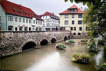 Bridge on the River Gera in the city of Erfurt, Thuringia, Germany.