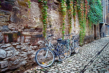 Pedestrian Street in the old city of Erfurt, Thuringia, Germany.