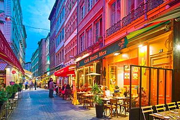 Restaurants in Rue (street) Merciere, Lyon, Rhone-Alpes, France