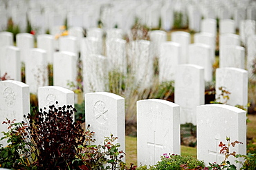 The Tynecot Commonwealth Military Cemetery for World War One soldiers killed at or near Ypres or Ieper in Belgium