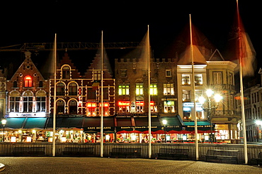 Markt square at night  Medieval town of Bruges, Belgium  Brugge