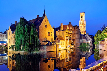 Rozenhoedkaai, canals and reflections at night  Medieval town of Bruges, Belgium  Brugge
