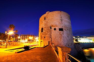Torre de lEspero Reial  The Royal Spur Tower Sulis Tower at night  Alghero, island of Sardinia, Sassari province, Italy, Europe
