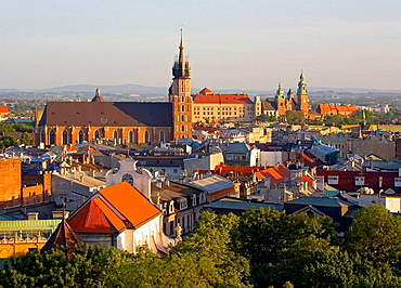 Poland, Krakow, cityline from high