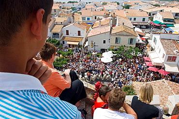 Procession during annual gipsy pilgrimage at Saintes-Maries-de-la-Mer, Camargue, France