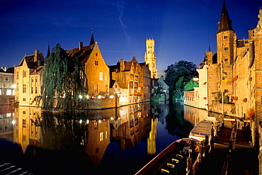 Canal scene with the Belfry in background, Brugge, Belgium