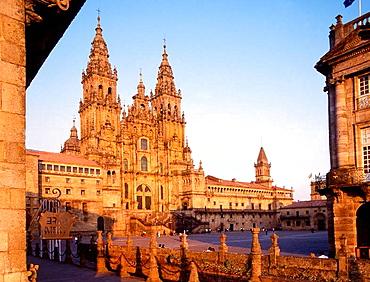Santiago cathedral, Obradoiro square, Santiago de Compostela, La Coruna province, Galicia, Spain.