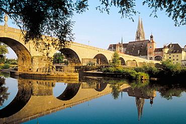 Germany, Bavaria, Regensburg, Stone Bridge