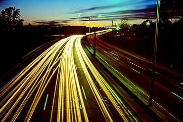 Expressway traffic at dusk, Montreal, Quebec, Canada