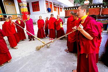 Druk Sangakchoeling Gompa tibetan buddhist monastery, monks, Darjeeling, West Bengal, India