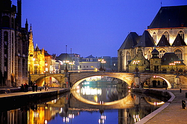 St, Michaels Bridge & Church, Gent, Belgium.