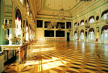Interior of the Summer Palace, the former residence of Peter the Great, Petrodvorets, St, Petersburg, Russia