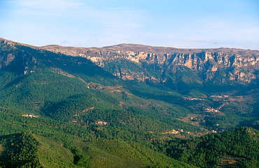 View of Rincon de Tus and Calar del Mundo at background, Yeste, Alabacete Province, Spain