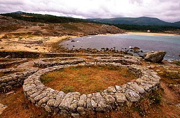 Castro Celta de Barona, Celtic ruins, Ria (estuary) de Noia, La Coruna province, Galicia, Spain