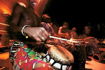 Musician playing drums, Senegal