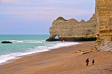 Famous Amont Cliff Channel sea and beach ETRETAT Normandy 76 France