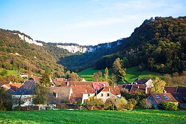 France, Jura Department, Franche-Comte Region, Les Reculees valley area, Blois-sur-Seille, village view