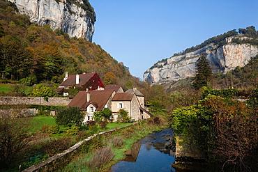 France, Jura Department, Franche-Comte Region, Les Reculees valley area, Baume-les-Messieurs, village detail