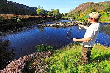 Flyfishing for trout and salmon in Scotland.