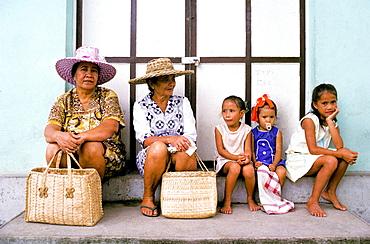 Women and children, Bora Bora, Leeward Island, French Polynesia