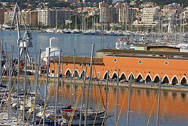 Puerto de Palma from the terrace of the Market The Llotja, XV century Palma Mallorca Balearic Islands Spain