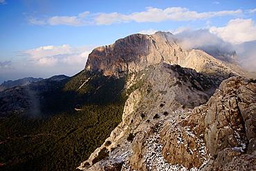 Penyal des Migdia, 1356 meters, from serra Son Torrella, Sierra de Tramuntana Soller Mallorca Balearic Islands Spain