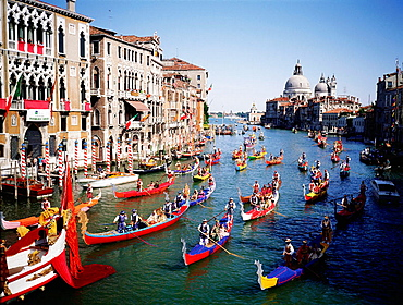 Historical boats parade (Regata Storica) on Grand Canal, Venice, Italy