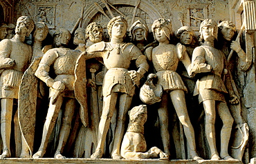 Detail of relief at Castel Nuovo, Naples, Italy