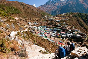 view of Namche Bazaar in the Everest Region of Nepal
