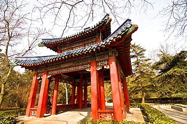 A beautiful traditional Chinese pavilion in the beautiful purple mountain, Nanjing.