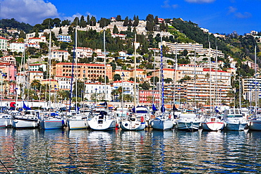 Boats in the harbor of Menton, France, Europe