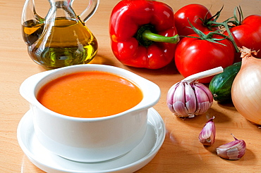 Gazpacho andaluz and ingredients, Andalucia, Spain.
