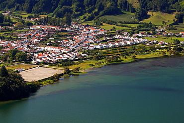The village of Sete Cidades at the Crater Lake Lagoa Azul / Volcanic Crater Sete Cidades / Sao Miguel Island / Azores / Portugal