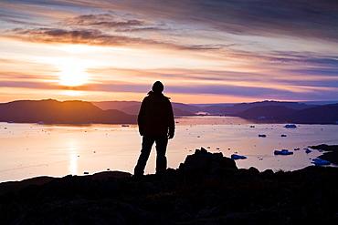 Man looking at the fjord outside Narsaq, South Greenland
