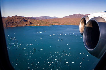 Plane flying from Narsarsuaq, South Greenland