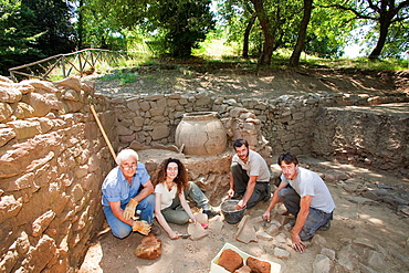 europe, italy, tuscany, vetulonia, etruscan ruins, location poggiarello renzetti, archaeological excavations, find domus hellenistic period, III century BC, I century BC