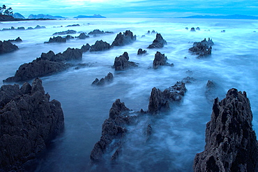 Ria de Vigo coastline with Cies islands on the background Nigran, Pontevedra, Galicia, Spain