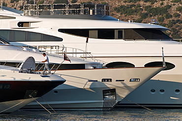 Luxury yachts moored in the harbour at Argostoli, Cephallonia, Ionian islands, Greece