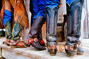 Close up of cowboys' boots and spurs, Texas, USA